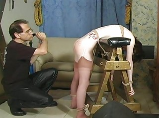 Hawt whore gets hog tied and tit-tortured