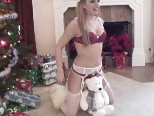 Blonde pornstar in red and white lingerie stripping and teasing