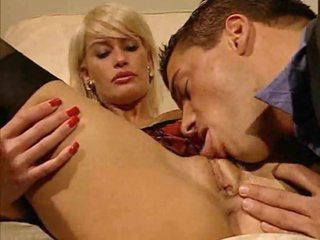 Golden-haired in business suit slammed in her vagina