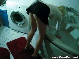 Sexy youthful blonde gets interrupted doing her laundry and sucks and copulates POV