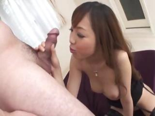 Oriental MILF, Anri Hoshizaki, gives a blowjob and licks balls
