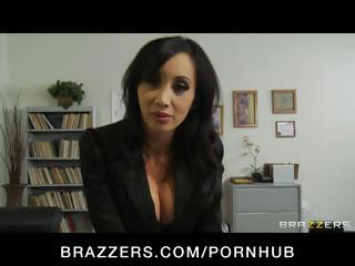 Four hot breasty office babes take on the boss and his shlong