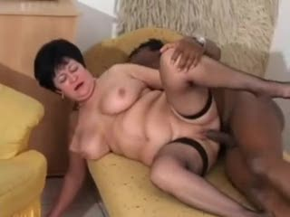 Aged in fishnets fucked by black stud