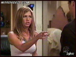 Jennifer Aniston Takes Off Her Brassiere With Her Shirt On and Jumps On Joey