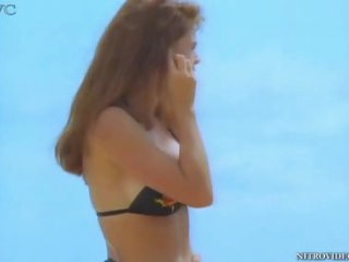Alison Armitage In the Beach with a Hot Black Bikini