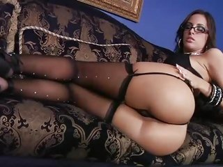 Seductive Kortney Kane is a lascivious four eyed beauty