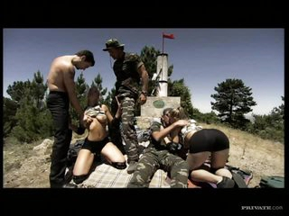 Sexy Blonde Soldiers Receive Outnumbered In An Outdoor Group Sex