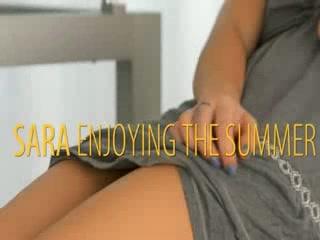 Delightful blonde girl enjoying summer