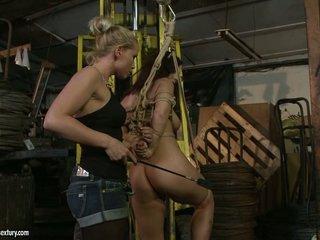 Kathia Nobili spanking the ass of hot honey with whip
