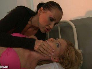Kathia Nobili and Mandy Bright make out at the hospital