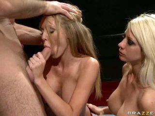 Sexy babe Brynn Tyler gets her throat busy engulfing a favourable man's hardon