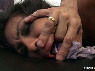 Floozy Cassandra Cruz has her panties stuffed in her gob