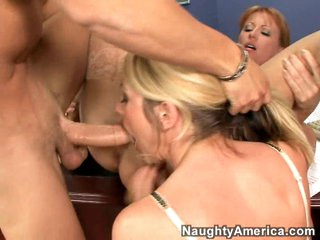 Busty playgirl Sindy Lang and her sexy friend get rammed by a hard cock