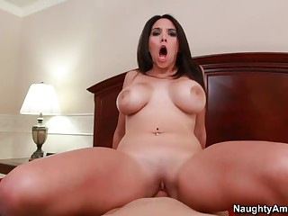 Curvy dark haired wife Missy Martinez with huge tits. big bubble ass and smooth pussy is a beauty that gives pleasure to her hubby in the bedroom in this video featuring her doing it from your perspective.