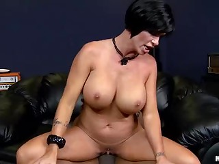 Beautiful black haired milf Shay Fox with perfect big boobs loves meaty dick of her dark skinned fuck buddy. She sucks him and then gets her pussy fucked with tongue and cock. Great interracial fucking.
