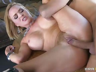 Krissy Lynn with sexy big boobs and smooth pussy does striptease to get the job. Keiran Lee loves striptease. her amazing body and decides to give her clean pussy a try. Busty Krissy Lynn finds her pussy penetrated.
