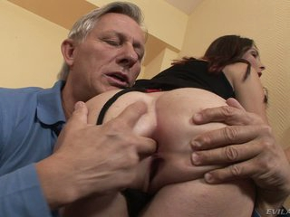 Long legged brunette Kattie Gold in black stockings turns aged man on. She grabs her ass cheeks and sticks two fingers in her asshole. Then he licks her sweet ass eagerly!