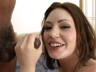Sarah Shevon gets her face plastered with hot cum