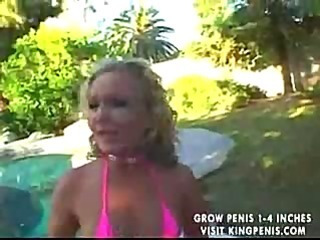Bikini girl gets on her knees to suck and gets fucked bent over
