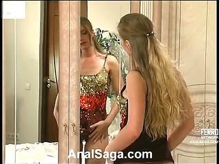 Diana&Lesley horny anal movie