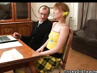 Teacher bonks schoolgirl after lessons at his place.