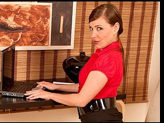 Dark Brown secretary takes a break to play with her Anilos snatch