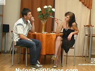 Millie&Vitas kinky nylon feet movie scene
