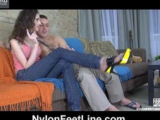 Agatha&Connor nylon footsex movie