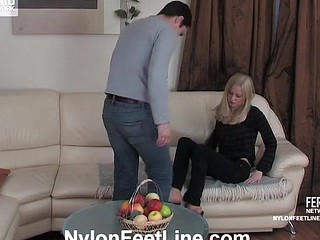 Paulina&Adam nylon footfuck movie