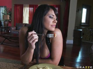 cute brunette big tits being fucked in the kitchen