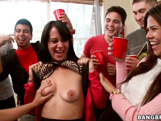 milfs having fun at a college party, getting naked and giving blowjobs