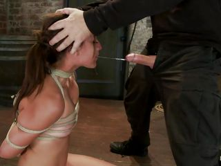 pretty whore mouth fucked and then blindfolded in bdsm session