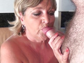 chubby blonde mature enjoys a dildo and a cock