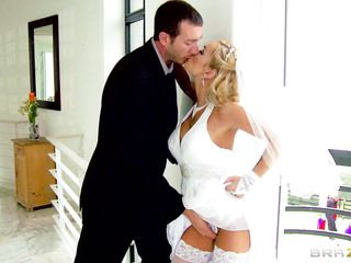 blonde giving head to a stranger on the wedding day