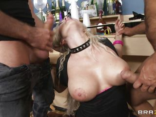 busty blonde takes it from two horny guys