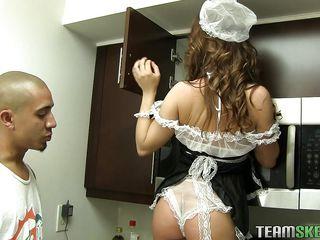 cute little maid deserves a big cock
