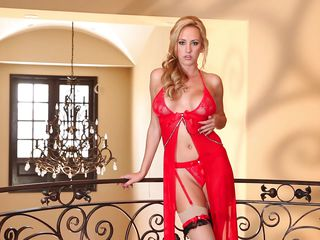 hot blonde wearing a red dress masturbating