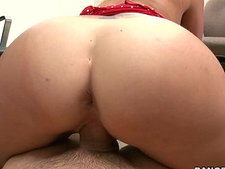 Awesome light-complexioned with round butt is satisfying her boss indoors