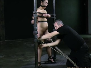 Disobedient bitch with huge melons is being tortured in a sexual way