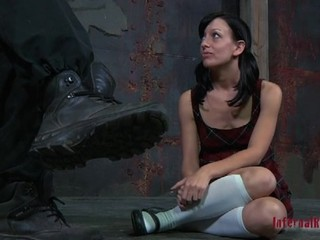 Comely chick has got chained in subjection by her BDSM master