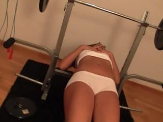 Twat-stroking inside the gym