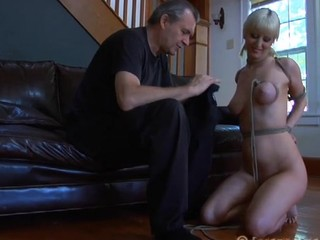 Blonde bitch in the mask is going insane in this fetish porn perform