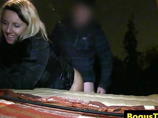 Drilled taxipassenger creampied in cab