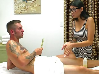 Hot as hell masseuse sits on the dick and rides like a floosie