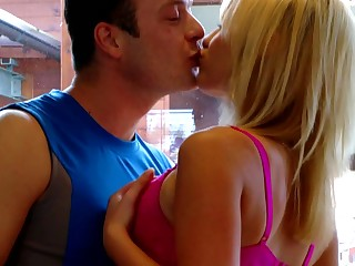 A teen blonde is feeling her pussy getting wrecked by a cock