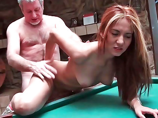 Serena sucking penis and getting nailed on the pool game table