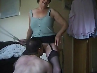 Dirty old northern mother punishing the boy