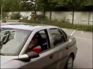 Busty German brunette sucks his cock in the car and acquires a mouthful