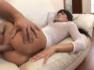 Slut in fishnet top enjoys a large cock