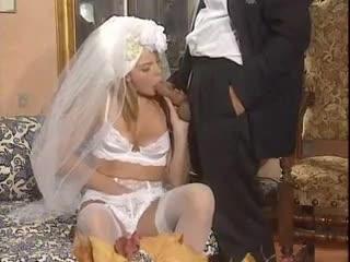 Groom fucks his bride in the white lingerie